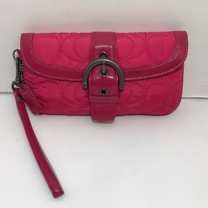 Coach Quilted Hot Pink Wristlet Purse Clutch Bag